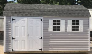 New 10' x 16' Gray Vinyl Gambrel Shed with Rollup Door for Sale in Rehoboth, MA