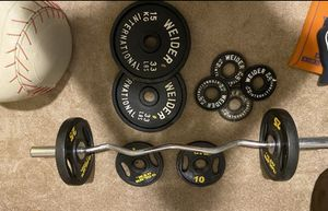 Weights & curl bar for Sale in Wethersfield, CT