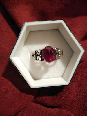 Red Ruby Sterling silver ring sz 8 for Sale in Cedar Rapids, IA