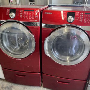 Samsung Red Washer And Electric Dryer Set for Sale in Stockton, CA