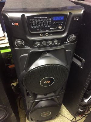 """Qfx portable x2 10"""" Bluetooth rechargeable USB heavy bass speaker for Sale in San Francisco, CA"""