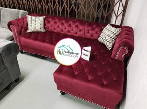 New Burgundy Velvet Glam Sofa Sectional Couch - Financing Available for Sale in Moreno Valley, CA