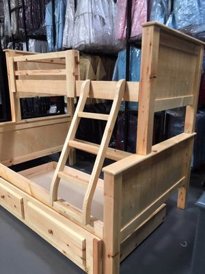 Pinewood bunk beds twin-full and trundle (mattress not included) for Sale in Costa Mesa, CA