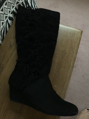 New Black Suede Fringe Boots, size 12W for Sale in Montgomeryville, PA