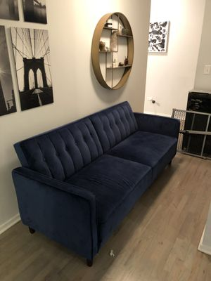"Blue Suede Futon 94""x 37"" for Sale in Chicago, IL"