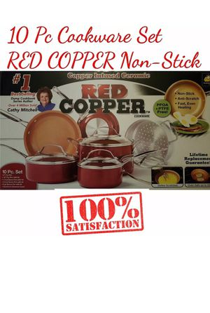 10 Pc Cookware Set RED COPPER Ceramic Non-Stick Cooking POTS and PANS With Lid for Sale in Phoenix, AZ