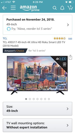 Move out sale : TCL 49S517 49-Inch 4K Ultra HD Roku Smart LED TV (2018 Model) and stand for Sale in Cupertino, CA