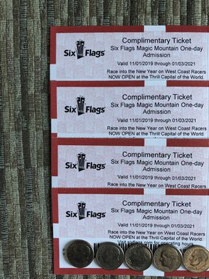 🎢🍿🥤🍦 SIX FLAGS MAGIC MOUNTAIN ⛰ TICKETS (4) 🎟🎟🎟🎟 $50 EACH FIRM THERE $92.99 AT THE GATE AND EXPIRE 01/03/2021 🎢🍿🥤🍦 for Sale in Los Angeles, CA