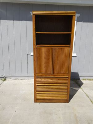 Huge Gorgeous heavy duty solid wood oak bookcase entertainment center storage Shelf for Sale in Las Vegas, NV