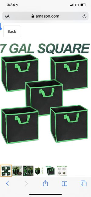 MEARTEVE 5-Pack 7 Gallon Square Plant Grow Bags,Smart Fabric Pots with Bracket Ring and Handles for Outdoor and Indoor Planting for Sale in Irving, TX
