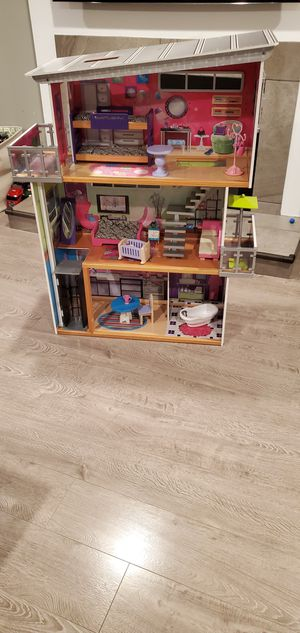 Doll house with furniture, Barbies, clothes, etc. for Sale in Brea, CA