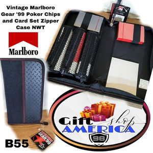 Vintage Marlboro Gear '99 Poker Chips and Card Set Zipper Case NWT B55 for Sale in Kissimmee, FL