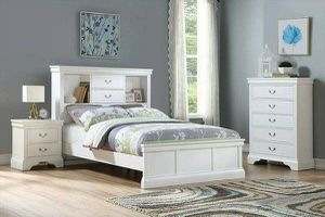 WHITE 3 PIECE FULL SIZE BEDROOM SET BOOKCASE BED NIGHT STAND CHEST for Sale in Temecula, CA