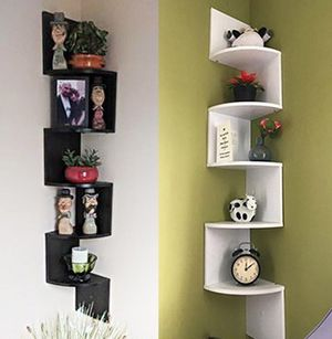 "(NEW) $20 each (Black or White) Corner 5-Tiers Wall Mount Zig Zag Wood Shelf Home Furniture 8""x8""x48"" for Sale in Whittier, CA"