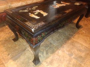 Nice rare antique Japanese black lacquer handmade coffee table with Jade Pearl inlays rare asking 650 or best offer for Sale in Houston, TX