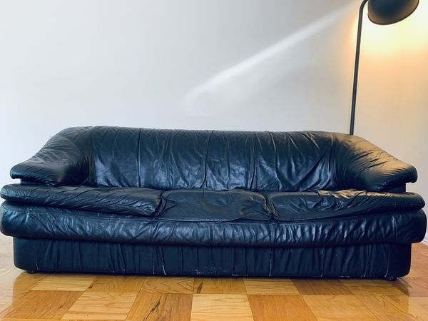 Sofa / Couch black faux leather