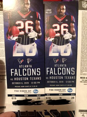 Texans Vs Falcons Oct 6,2019 for Sale in Deer Park, TX