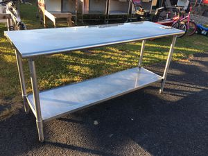 72 x 24 x 35 Stainless Steel Table w Metal Undershelf for Sale in Wellsville, PA