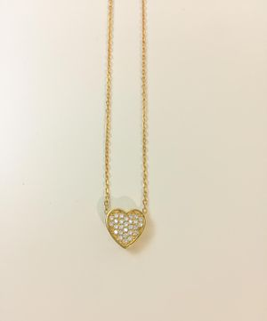 24k gold plated over sterling silver heart necklace with Cubic Zirconia stone for Sale in Baldwin Park, CA