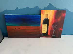 Two paintings frame for kitchen and living room for Sale in Seattle, WA