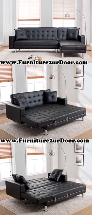 New black bonded leather sofa Sectional futon with pillows (reversible chaise) for Sale in Ontario, CA