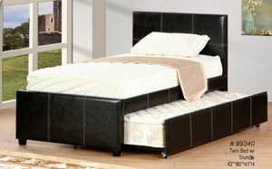 Brand new in box espresso leatherette cover twin bed with trundle only for Sale in Takoma Park, MD