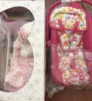 Brand new Adora adoption collection doll and her car seat for Sale in Las Vegas, NV