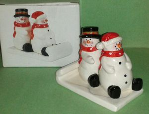 Christmas Snowmen in Sled S&P Shakers NIB for Sale in Silver Spring, MD