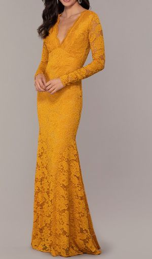 Long sleeve Mustard lace dress comfy and beautiful for Sale in Howell Township, NJ