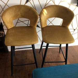 Set Of 2 Corduroy Mustard Yellow Barstools for Sale in Washington, DC