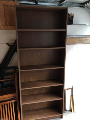 Premium wooden dark Oak melamine 6-layer shelves bookcase. 31 3/4 x 11 x 76 for Sale in Long Beach, CA