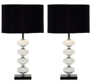 """21"""" TALL CONTEMPORARY METAL AND PEARL GLASS TABLE LAMP with CHROME FINISH DETAIL ON SQUARE BASE with HARD BLACK DRUM SHADE ...... """"LIKE NEW"""" CONDITIO for Sale in Lake Worth, FL"""