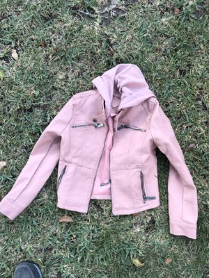 Girls kids pink jacket size medium 10 leather style for Sale in Arcadia, CA