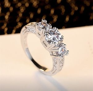 New Beautiful 3-stone 10kt White Gold-filled CZ diamond ring. For Wedding/ engagement/ Anniversary/ Valentines gift. for Sale in Los Angeles, CA