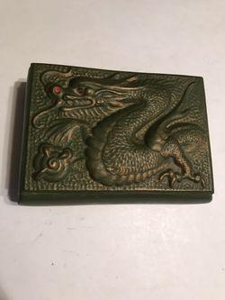 1980's Vintage Jamar Mallory Green & Gold Ceramic Dragon Trinket Box for Sale in San Angelo,  TX