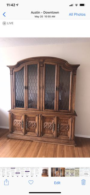 China cabinet, with glass shelves, good condition, can be separated into two parts for easier pick up and delivery for Sale in Austin, TX