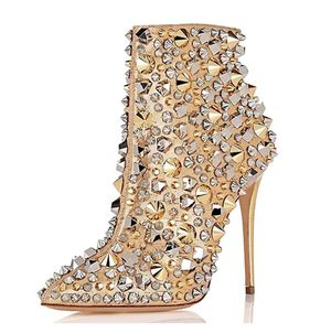 Size 8.5 Fashion High Heel Ankle Boots with Rivets Pointed Toe Stilettos Zipper Shoes for Sale in Las Vegas, NV