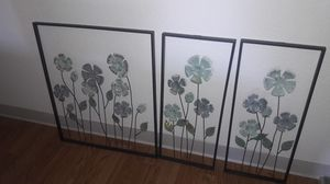 Three 3D flower home decorations for walls for Sale in Newark, CA