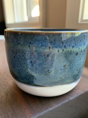 Unique handmade ceramic speckled blue and white plant pot for Sale in Vancouver, WA