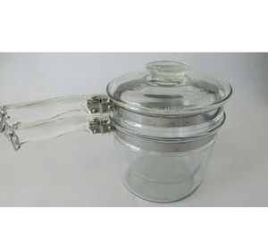 Pyrex Flameware Double Boiler Complete with Lid 6283 3pc Vintage Clear Glass USA for Sale in San Diego, CA