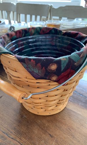 Longaberger basket with liner and plastic protector for Sale in Wenatchee, WA