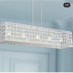 """Possini Euro Design Brushed Nickel Large Linear Pendant Chandelier 46 3/4"""" Wide Modern Clear Crystal Kitchen Island Dining Room for Sale in Los Angeles,  CA"""