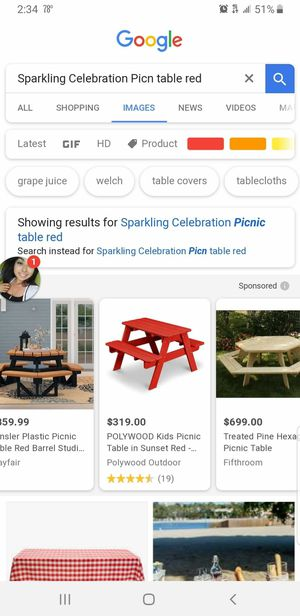 Red picnic table and tents for Sale in Chicago, IL