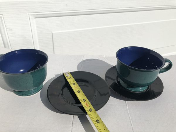 Two Mikasa mugs, jewelstone saucer plates, and 8 teacups lot