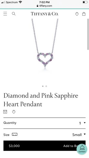Tiffany&co pink sapphire heart pendant (Authentic) for Sale in Jurupa Valley, CA