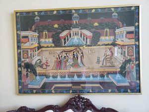 Large Silk Hand Painting India Palace for Sale in San Diego, CA