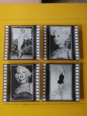 "4 piece, 6 1/2"" square Marilyn Monroe black & white film strip glass plates for Sale in Riverside, CA"