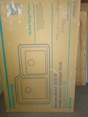 New in box under counter mount double bowl sink White for Sale in Augusta, KS
