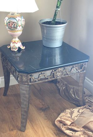 "Two end tables. Metal frame with Black & White Marble top. 28"" x 28"" for Sale in Wasilla, AK"