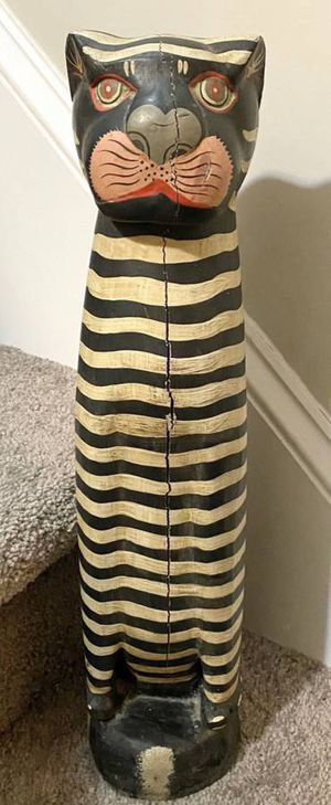 Vintage Wooden Hand Carved Striped Cat Sculpture Figurine Door Stopper Art Statue Home Decor Made In Indonesia for Sale in Chapel Hill, NC